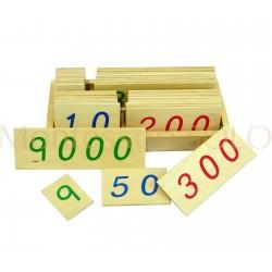 Złoty materiał - karty liczbowe drewniane, małe