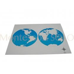 Puzzlowa mapa świata - karta kontrolna bez napisów
