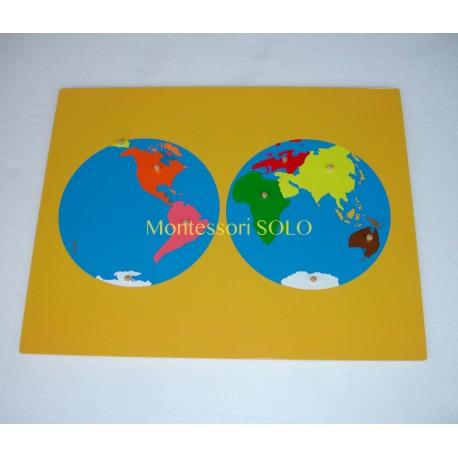 Puzlowa mapa świat z podziałem na kontynenty